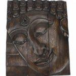 Bouddha panneau de face, la sculpture sur bois en 3 parties Thailande - noir, 31cm de haut de la marque Farang image 1 produit