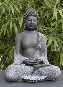 Bouddha Statue en pierre, gris ardoise, décoration figurine pour intérieur extérieur jardin de la marque Tiefes Kunsthandwerk image 0 produit