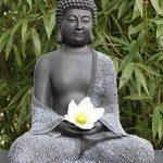 Bouddha Statue en pierre, gris ardoise, décoration figurine pour intérieur extérieur jardin de la marque Tiefes Kunsthandwerk image 1 produit