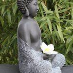 Bouddha Statue en pierre, gris ardoise, décoration figurine pour intérieur extérieur jardin de la marque Tiefes Kunsthandwerk image 3 produit