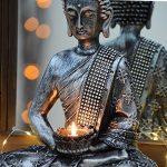 Bouddha Statuette chinois 33cm avec chandelier décoration zen pour intérieur feng shui de la marque INtrenDU image 1 produit