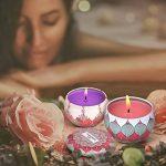 Bougie parfumée ensemble cadeau - 4 Pack 2.5 oz Lotus, Pêche, Pamplemousse et Jasmin, bougie pot de 100% cire de soja naturel, les bougies parfumées légères de décompression relâchement, 15 - 20 heures Durée quatre paquets pour l'Aromathérapie, Mariages, image 4 produit