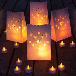 Bougies Chauffe-Plat à LED Sans Flamme -24 Bougies Jaune Clignotant avec Bonus 12 Sacs Lumineux Inclus de la marque Frux Home and Yard image 0 produit