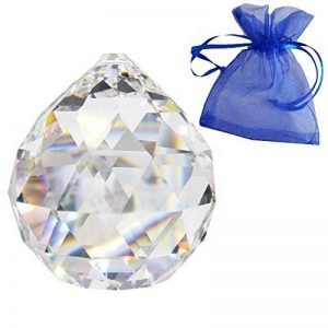 Boule de cristal Ø 50mm dans un petit sachet cadeau bleu 30% cristal au plomb de haute qualité arc en ciel décoratioN fenêtre Feng Shui de la marque Christoph Palme Leuchten image 0 produit