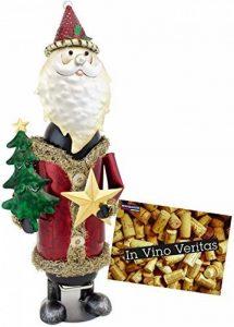 BRUBAKER Porte-bouteille de vin - Père Noël - Métal - Carte de vœux incluse - Idée cadeau originale - Objet décoratif de la marque Brubaker image 0 produit