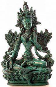 BUDDHAFIGUREN/Billy Held Statuette Bouddha –Vert de Tara, 15cm, en polyuréthane de couleur turquoise, décoration tibétaine, faite à la main en au Népal de la marque BUDDHAFIGUREN/Billy Held image 0 produit