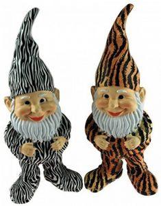 BWG Lot de 2Zebra Imprimé animal 30cm Jardin Gnomes–Piquedru la/rayées de la marque BWG image 0 produit