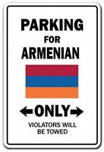 Cadeau humoristique de stationnement pour arménien uniquement National Pride Sign Arménie Drapeau national de Pride Amour Décoration d'extérieur en métal en aluminium Sign Plaque murale Décoration de la marque Aersing image 0 produit