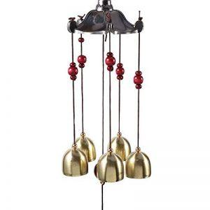 Carillon de Vent Chinois Traditionnel avec 5 pièces Clochettes Bronze Perles Suspendus Windchimes pour Extérieur Intérieur Patio Jardin Balcon Décoration de la marque Yosoo image 0 produit