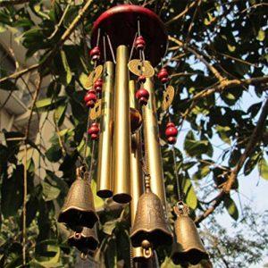 Carillon du vent, vous souhaite la prospérité: chinois traditionnel incroyable 4 tubes 5 cloches et base en bois Bronze Windchime pour patio extérieur, jardin et décoration intérieure de la marque MYMM image 0 produit