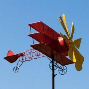 Carillon éolien en métal avion de baron rouge-résistant aux intempéries, avec effet vieilli-éolienne : 30 cm, motif : 44 x 46 cm, hauteur totale : 160 cm-avec standstab de la marque IMC Networks image 0 produit