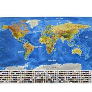 Carte de drapeau de YULAN-PVC Carte du monde imperméable à l'eau Grande grande carte du monde avec des drapeaux de pays Nouveau (multicolore) de la marque YULAN image 0 produit