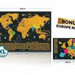 carte du monde à gratter Édition XXL - Une Carte du Monde en Poster Extra Large et Personnalisé + Carte à gratter de l'Europe en Bonus. Inclut un Tube Cadeau Deluxe Personnalisé et 2 Cartes Détaillées (Carte du monde, Carte de l'Europe) avec les Capitales image 3 produit