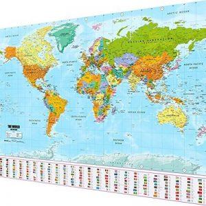 Carte du monde Poster XXL dans le format géant avec drapeaux & drapeaux–Top Qualité (140x 100cm) de la marque Goods & Gadgets image 0 produit