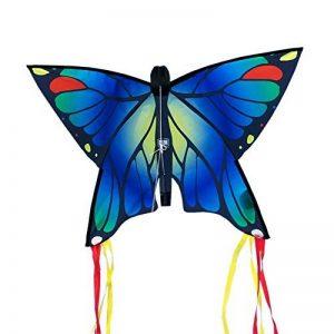 Cerf-volant papillon - Butterfly Blue – Cerf-volant monofil pour enfants à partir de 3 ans - 58x40cm – incl. ligne de 20ml – avec queues courbées de 195cm de la marque IMC Networks image 0 produit