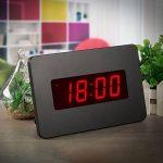 ChaoRong Réveil électrique Horloge murale pour les chambres actionnées par batterie seulement (noir), avec clip arrière. Vous pouvez le placer sur un bureau ou un mur (noir) de la marque J&F ZHU image 4 produit