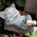 Chat allongé avec yeux Figurine solaire Lanterne solaire jardin figurine de la marque Unbekannt image 1 produit