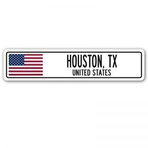 Citation en aluminium Sign Houston, TX, rue des États-Unis Drapeau américain City Country Cadeau Cadeau en métal Pancarte Décoration de la marque Aersing image 0 produit