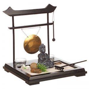 Coffret Jardin ZEN Bouddha sur un plateau en bois avec gong, 1 photophore , fleur et plante , sable et galets de la marque Atmosphera image 0 produit