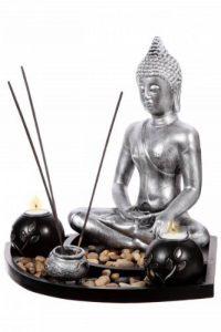 Coffret ZEN Statuette Bouddha H 36cm sur un plateau en bois avec photophores, porte-encens, cailloux etc... de la marque P&D image 0 produit