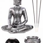 Coffret ZEN Statuette Bouddha H 36cm sur un plateau en bois avec photophores, porte-encens, cailloux etc... de la marque P&D image 1 produit