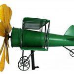 Colourliving® Carillon éolienne Métal Avion biplan vert jaune décoration de jardin de la marque colourliving image 1 produit