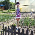 Com-Four Femme Figurine de chien avec fleurs, jardin figurine en métal laqué multicolore en forme de chien, env. 63x 21,6x 12cm de la marque com-four image 1 produit