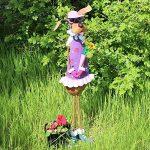 Com-Four Femme Figurine de chien avec fleurs, jardin figurine en métal laqué multicolore en forme de chien, env. 63x 21,6x 12cm de la marque com-four image 2 produit