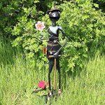 Com-Four Figurine de fourmi avec fleur et pelle, statue de jardin en métal laqué multicolore en forme de grenouille, env. 71,8x 16,5x 12,7cm de la marque com-four image 1 produit