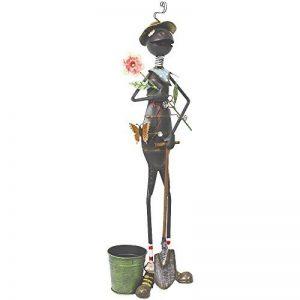 Com-Four Figurine de fourmi avec fleur et pelle, statue de jardin en métal laqué multicolore en forme de grenouille, env. 71,8x 16,5x 12,7cm de la marque com-four image 0 produit
