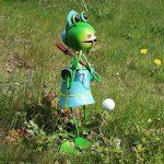 'COM-FOUR Figurine de grenouille avec batte de baseball, Figurine de jardin en métal laqué multicolore en forme de grenouille, env. 44x 23x 22cm de la marque com-four image 1 produit
