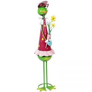 """Com-Four Figurine femme """"Grande Grenouille avec fleurs, jardin figurine en métal laqué multicolore en forme de grenouille, env. 68x 16,5x 16,5cm de la marque com-four image 0 produit"""