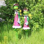 """Com-Four Figurine femme """"Grande Grenouille avec fleurs, jardin figurine en métal laqué multicolore en forme de grenouille, env. 68x 16,5x 16,5cm de la marque com-four image 1 produit"""