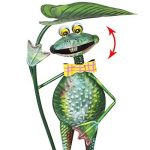 """'COM-FOUR Figurine """"Grenouille avec Feuille de nénuphar, jardin figurine en métal laqué multicolore en forme de grenouille, env. 67x 25,5x 18,5cm de la marque com-four image 5 produit"""