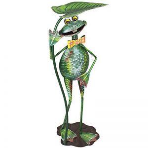 """'COM-FOUR Figurine """"Grenouille avec Feuille de nénuphar, jardin figurine en métal laqué multicolore en forme de grenouille, env. 67x 25,5x 18,5cm de la marque com-four image 0 produit"""
