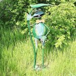 """'COM-FOUR Figurine """"Grenouille avec Feuille de nénuphar, jardin figurine en métal laqué multicolore en forme de grenouille, env. 67x 25,5x 18,5cm de la marque com-four image 1 produit"""