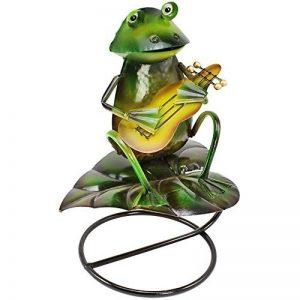 """'COM-FOUR Figurine """"Grenouille avec guitare, statue de jardin en métal laqué multicolore motif grenouille, env. 30x 23x 16cm de la marque com-four image 0 produit"""