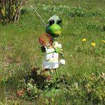 """'COM-FOUR Figurine """"Grenouille avec Raquette de tennis, jardin figurine en métal laqué multicolore en forme de grenouille, env. 44x 23x 21cm de la marque com-four image 1 produit"""