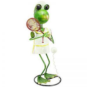 """'COM-FOUR Figurine """"Grenouille avec Raquette de tennis, jardin figurine en métal laqué multicolore en forme de grenouille, env. 44x 23x 21cm de la marque com-four image 0 produit"""