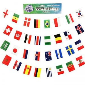 Coupe du monde de football fanions tous les 32équipes Russie 2018Football Bannière drapeaux Tissu 9m de la marque World of Bunting image 0 produit