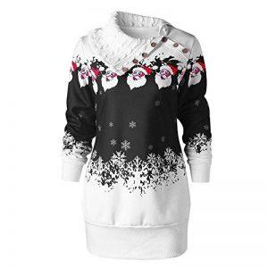 Covermason Joyeux Noël Womens Christmas Santa Claus Snowflake Imprimer Plus Size Tunique Sweatshirt Dress de la marque Covermason image 0 produit