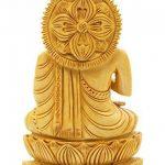 Craftvatika Statue de Bouddha Assis en Bois Sculpté à la Main de la marque CraftVatika image 3 produit