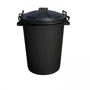 CrazyGadget® Poubelle noire à poignées verrouillables en plastique robuste - Fabriquée au Royaume-Uni - 80-85 L - Noir de la marque KetoPlastics image 0 produit