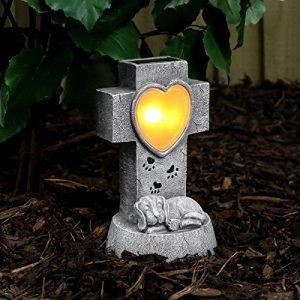 Croix Commémorative et Cœur Lumineux Solaire Éclairage LED Blanc Chaud (Pile Rechargeable Incluse) Waterproof 21cm (Chien) de la marque Festive Lights image 0 produit