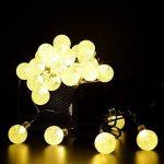 Cuzile Guirlande lumineuse solaire d'extérieur lumières de jardin, étanche 6,7m 30LED Boule de cristal à énergie solaire Guirlande lumineuse pour Noël, sapin, maison, vacances, clôture, cour, mariage, patio, décoration de fête jaune de la marque cuzile image 3 produit