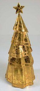 déco sapin de Noël tôle Or, H:41cm, avec étoile, Ø : env. 16 cm, métal avec véritable feuille d'OR de la marque E+N Deko image 0 produit