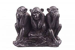 décoratifs Pierre figurine Statue Sculpture voir, Entendre, Speak No Evil singes de 11,9cm Noir de la marque danila-souvenirs image 0 produit