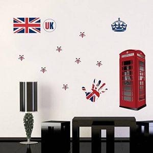 DecalMile Stickers Moderne Drapeau UK Royaume Uni Stickers Muraux Amovible DIY Autocollant Décoration Murale pour Chambre Salon de la marque DecalMile image 0 produit
