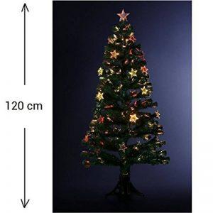 DECO NOEL - Sapin de Noël artificiel en fibre optique + 18 étoiles lumineuses - livré avec son pied- Hauteur 120 cm - Coloris VERT de la marque FEERIC LIGHTS & CHRISTMAS image 0 produit