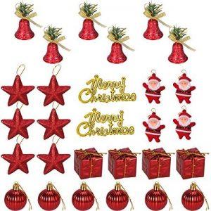 Deco Sapin de Noel Tinksky 28 Pieces Merry Christmas Étoiles Boules de Noël Cloches de Noël Père Noël Suspension Noel Rouge de la marque Tinksky image 0 produit